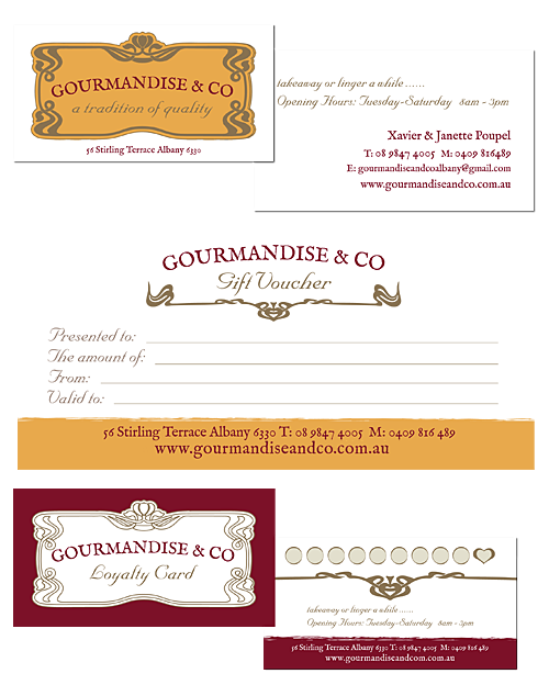 Gourmandise & Co Business Cards, Gift Voucher and Loyalty Cards